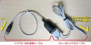 グレーのシリアルケーブル+USBシリアルアダプタ